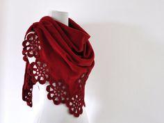 Red Fleece Shawl Wedding Shawl Bridal Wrap by reflectionsbyds