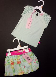 03cc054be8a0 Beautiful Baby Girl 3-Piece Floral Skirt Mint Green Ruffle Top by Ted Baker  NWT  BakerbyTedBaker  DressyHoliday