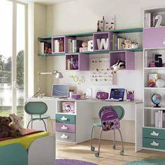 Παιδικό γραφείο 2 θέσεων Study Table Designs, Childrens Desk, Pink Bedroom For Girls, Girl Bedroom Designs, Home Office Decor, Home Decor, Kids Wood, Luxurious Bedrooms, Bedroom Decor