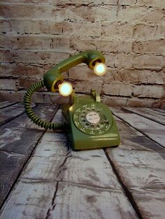 Table Lamp - Lighting - Upcycled Lamp -Vintage Rotary Telephone - Industrial…