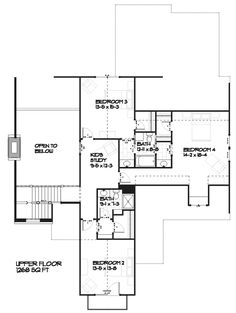 Country Style House Plan - 4 Beds 3.5 Baths 3086 Sq/Ft Plan #901-1 Floor Plan - Upper Floor Plan - Houseplans.com