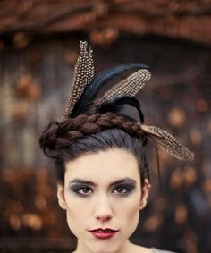 Crown of Love VI - Black feathered headpiece - captured wild. $45.00, via Etsy.