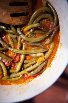 beans in tomato more fasolakia runners beans beans recipe greek green ...