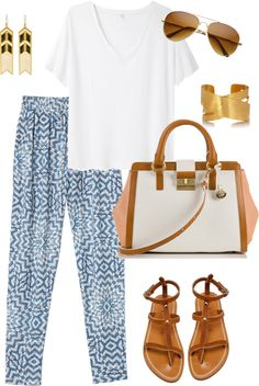 Blue and white pants and neutral accessories