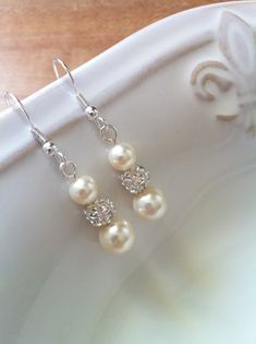 Ivory Bridal Earrings Ivory Pearl Earrings by AnaInspirations, $14.00