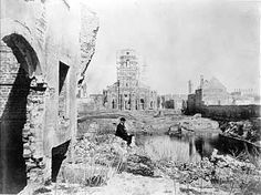 Archives of the University of Notre Dame :: RUINS OF THE CIRCULAR CHURCH, ST. PHILLIP'S CHURCH, AND SECESSION HALL FROM KING'S STREET, Charleston SC, 1865