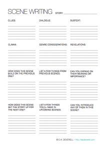 Creative Writing Worksheet – Scene Writing (PDF) Here is a worksheet I needed to write for myself this week!Often when you create an outline, you know what needs to happen when, but not necessarily how the action should unfold, or in what way you should relate it. This worksheet will help you brainstorm some ideas…