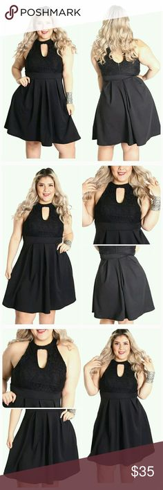 Keyhole Lace Dress (1X, 2X) Cute Floral Lace fit and flare Dress. Perfect to pair with Heels or Wedges. 95% Polyester 5% Spandex. Thank you and Happy Poshing!!! Dresses