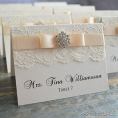 Lace Place Cards  Crystal and Lace Placecards by PaperLaceBoutique