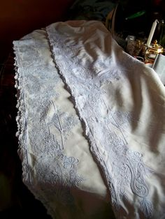 SOLD Beautiful Antique Vintage Appenzell Hand Embroidered Pure White Linen QUEEN Flat Top Sheet