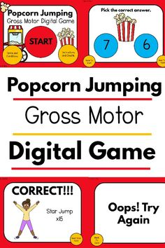 Such a fun gross motor game that works on jumping!  Your kids will love this popcorn themed game and you will love that it works on one to one correspondence and gross motor skills at the same time.  Use this in the classroom, at home, for distance learning or anytime!  This is perfect for brain breaks for the classroom, teletherapy, and beyond! Fine Motor Activities For Kids, Sensory Activities, Therapy Activities, Therapy Ideas, Sensory Play, Physical Therapy Exercises, Pediatric Physical Therapy, Popcorn Theme, Kinesthetic Learning