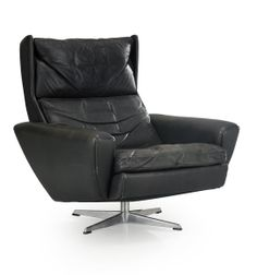 George Tham; Chromed Steel and Leather Lounge Chair for Tham Møbler, 1960s.