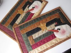 Snowman Quilted Mug Rugs by thePATchworksshop on Etsy