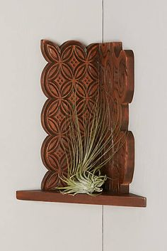 Carved Mahogany Corner Shelf