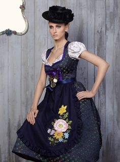 An absolutely beautiful dirndl by Trentini Couture. #dirndl #dress #folk #costume #German #clothing #hat