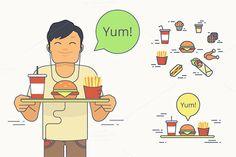 Set of junk food vector illustration by Julia Tim on @creativework247