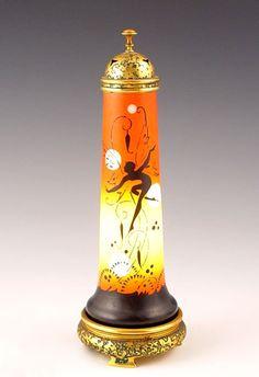 DEVILBISS ART DECO PERFUME LAMP fairy silhouette