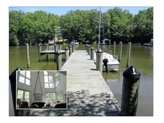 Contemporary waterfront on Mill ... Creek. 4 bdrms 3 baths  with private pier . Great for fishing, swimming, crabbing and boating. Quiet location. Open floor plan -cathedral ceilings, large windows for view and awesome deck for entertaining! Three finished levels! Main level MBR plus Rec room in basement, w /2 bdrms & full bath. Upper level has bdrm,,full bath & loft area. Hidden treasure of pleasure!
