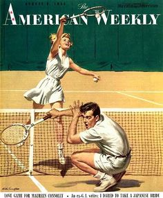 The American Weekly - August 8, 1954. Feature story on American tennis player Maureen Connolly. Artwork by Arthur Samoff.