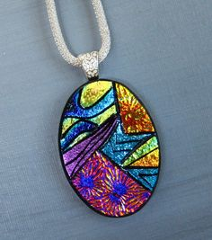 Oval Glass Necklace Dichroic Jewelry Fused Glass by GlassCat, $35.00