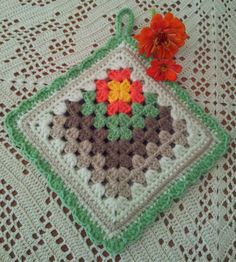 Nasturtium double thickness potholder. www.gifts2love.co.za