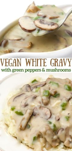 "This vegan ""chicken"" a la king recipe is the ultimate comfort food!  Rich and creamy white gravy with vegan ""chicken,"" mushrooms, and green peppers served over mashed potatoes or biscuits! #thehiddenveggies Vegan Junk Food, Vegan Comfort Food, Vegan Thanksgiving, Vegan Christmas, Christmas Recipes, Delicious Vegan Recipes, Vegetarian Recipes, Chicken Mushrooms, Happy Vegan"