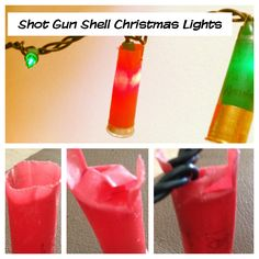 Making Christmas lights with shotgun shells! Cut slivers in the open part of the shell and fold over the tabs to make a closed top in the shell. Slide the light into the closed top and the folded ends should hold it into place! Happy Redneck Christmas!