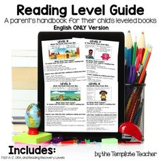 Guide to Reading Levels: A Parent's Handbook for their Child's Leveled Books. ENGLISH AND SPANISH BUNDLE!  The Template Teacher