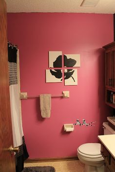 Black flower in my pink black bathroom coley 39 s diy for Zebra and red bathroom ideas