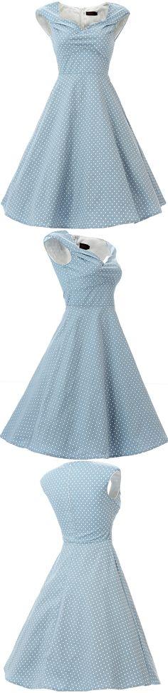 Vianla Women's 1950s Dress Vintage Capshoulder Party Sewing Dresses,Blue 50s Vintage Polka Dots Swing Midi Dress, #blue dress #Vintage #1950s