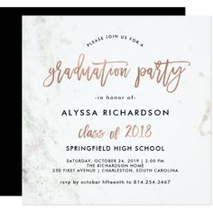 Modern Script | Marble Graduation Party Rose Gold Card