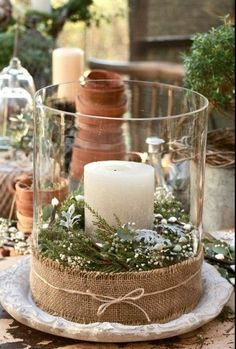 See more about winter wedding centerpieces, christmas centerpieces and christmas candles. Noel Christmas, All Things Christmas, Winter Christmas, Christmas Crafts, Christmas Candles, Natural Christmas, Beautiful Christmas, Christmas Tablescapes, Christmas Greenery