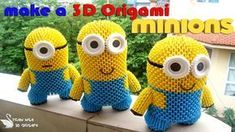 How to Make a Origami Minion Origami 3d, 3d Origami Tutorial, Origami Swan, Origami Models, Origami Dragon, Origami Love, Origami Fish, Modular Origami, Origami Design