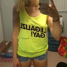 Neon Legalize Gay Tank AA American apparel unisex neon yellow marriage equality tank. New with tags. Size m American Apparel Tops Tank Tops