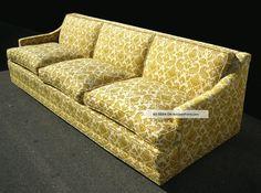 vintage yellow brocade mid century sofa