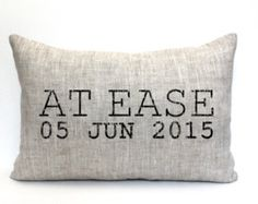 at ease pillow, phrase pillow, military retirement gift, military gift, army… Military Retirement Parties, Military Party, Army Party, Retirement Ideas, Good Retirement Gifts, Retirement Celebration, Army Gifts, Military Gifts, Military Love