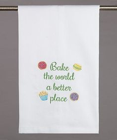 Take a look at this 'Bake the World a Better Place' Kitchen Towel - Set of Two today!