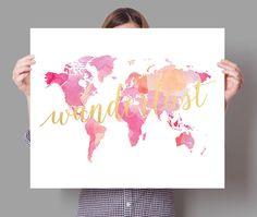 wanderlust watercolor pink world map art print poster watercolor map wall decor ebay
