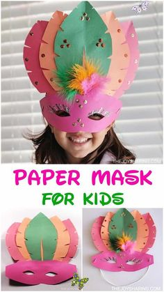 DIY Paper Mask Craft for Kids  <br> Fun and easy mask for kids to make. Cute mask idea for Mardi Gras. This DIY party mask is also a perfect craft for New Year Eve's party. Winter Crafts For Kids, Paper Crafts For Kids, Easy Crafts For Kids, Preschool Crafts, Diy Paper, Diy For Kids, Fun Crafts, Arts And Crafts, Tissue Paper