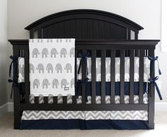 Custom Crib Bedding Navy Blue Chevron and Grey by GiggleSixBaby, $370.00