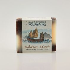Artisan soaps are handmade like our Raw Cuts but with added soy oil for a creamier bar. Comes in Malabar Coast (Pictured), Mai Tai, Buddha Bar, Seaweed, Tsunami and Samurai