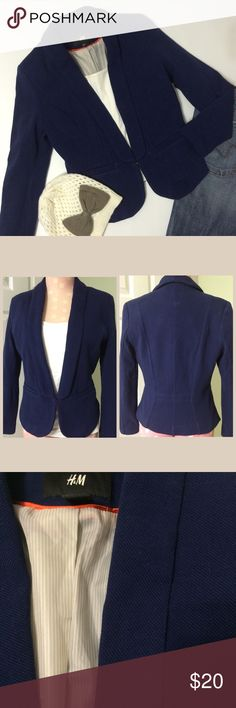 "H&M Navy Blazer Cute and perfect casually with jeans and cute hat or scarf or with pants to work..Cotton outside with a pinstripe polyester lining and one hook n eye for closing. Size 8 it measures 17"" across chest laying flat with hook n eye fastened and 22"" long in front...Bundle to Save plus ⚡️ H&M Jackets & Coats Blazers"