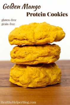 Golden Mango Protein Cookies | @Healthy_Helper Sweetly spiced, soft baked cookies that combine delicious mango flavor with superfood Turmeric! High in protein from beans, gluten-and grain-free, and easy to make...these cookies will be your new favorite way to enjoy the spice of the moment!