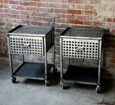 Industrial side table Trolley