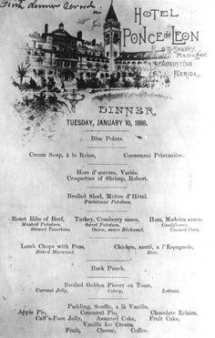 Dinner menu for the Hotel Ponce de Leon - St. Augustine, Florida