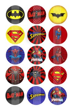 Superhero Boy Bottlecap Image Sheet (No.13) - Superman Inspired - 1 inch .