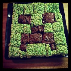Creeper crispy treats minecraft party  Love to serve this at my boys party next Thurs ..