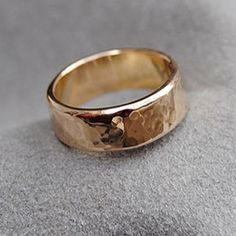 14K Gold Wide Hammered Texture Band 6 mm  Artisan - riccoartjewelry.com