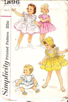 Vintage Pattern Simplicity 1896 Toddler's Dress, Pinaflore and Bonnet 50s Size 3
