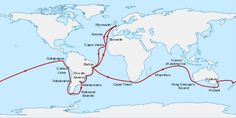 Route from Plymouth, England, south to Cape Verde then southwest across the Atlantic to Bahia, Brazil, south to Rio de Janeiro, Montevideo, the Falkland Islands, round the tip of South America then north to Valparaiso and Callao. Northwest to the Galapagos Islands before sailing west across the Pacific to New Zealand, Sydney, Hobart in Tasmania, and King George's Sound in Western Australia. Northwest to the Keeling Islands, southwest to Mauritius and Cape Town, then northwest to Bahia and…